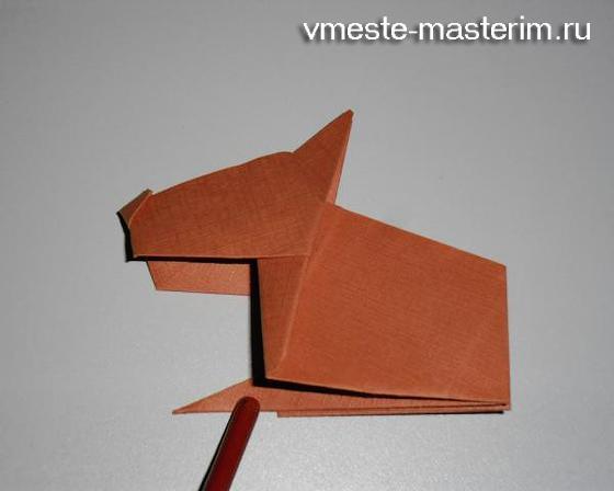как сделать из бумаги собаку