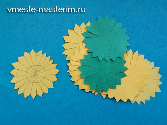 одуванчик из цветной бумаги