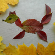 аппликация лиса из листьев