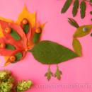 аппликация павлин из листьев