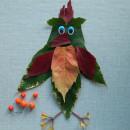 аппликация попугай из листьев