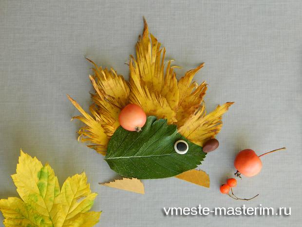 Детская аппликация из осенних листьев «Ежик» (мастер-класс).