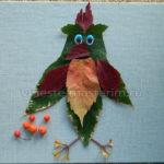 Детская аппликация из листьев «Попугай» своими руками