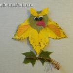 Детская аппликация из осенних листьев «Сова» своими руками