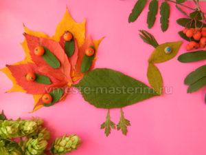 Детская аппликация из осенних листьев «Павлин» своими руками