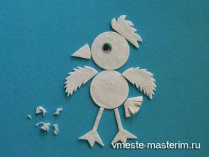 Аппликация из ватных дисков «Цыпленок» для детей (мастер-класс)