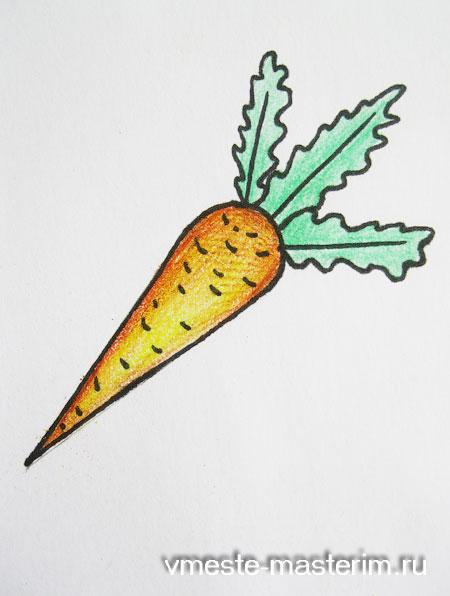 Как нарисовать морковку карандашом поэтапно ребенку