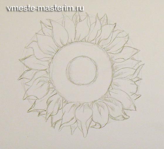 Как нарисовать поле подсолнухов