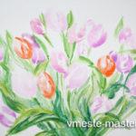 Как нарисовать красивые цветы тюльпаны (букет) поэтапно красками