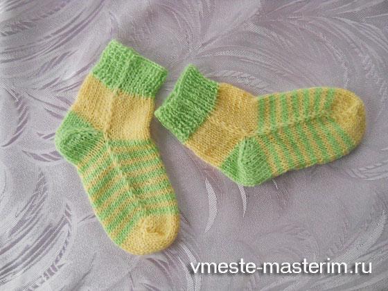как связать детские носки спицами