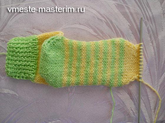 простой способ связать носки спицами