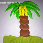 Рисуем пластилином объемную пальму с бананами