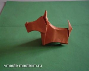 Собака оригами из бумаги своими руками (мастер-класс)