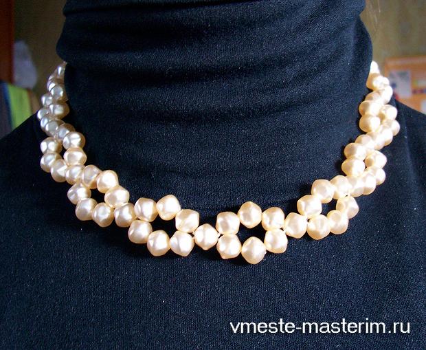 Жемчужное ожерелье из бусин своими руками (мастер-класс)
